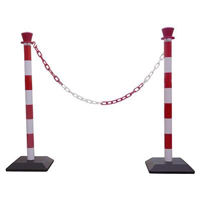 Kit 2 poteaux de signalisation - base lestée + 1 chaîne de 2 m - rouge et blanc (photo)