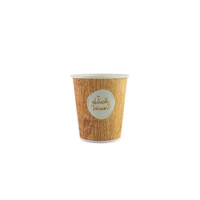 Gobelet jetable pour boisson chaude ou froide - 10 cl en carton biodégradable - 4 coloris assortis - impression Naturally Bioware - paquet 80 unités (photo)