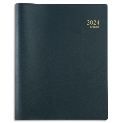 Agenda 2021 semainier Brepols Timing Alto - 17,5 x 22,5 cm - spiralé - couverture PVC noire (photo)