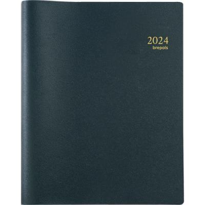 Agenda 2020 semainier Brepols Omega 27 - format A4 21 x 27 cm - spiralé - couverture PVC noire (photo)