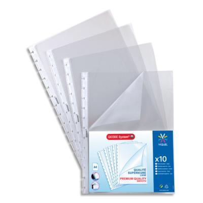 Sachet de 10 pochettes perfor es ouverture coin pour prot ge documents viquel maxi g ode - Petites pochettes plastiques ...