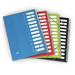 Trieur Elba Color Life - 12 compartiments - coloris assortis - couverture en carte pelliculée 7/10ème