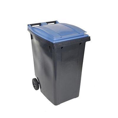 Conteneur poubelle mobile 2 roues - 360 litres prise frontale - couvercle bleu (photo)