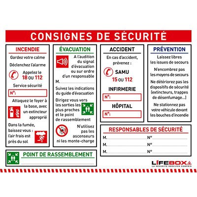 Panneau consignes de sécurité (photo)