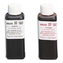 Encre Tiflex à tampon grasse pour timbres métalliques - flacon de 125ml - noir (photo)