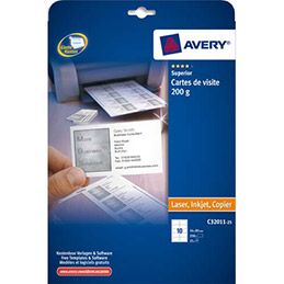 Cartes de visite Avery C32011 8,5 x 5,4 cm - 200 g - impression jet d'encre et laser finition mate - pochette de 250 (photo)