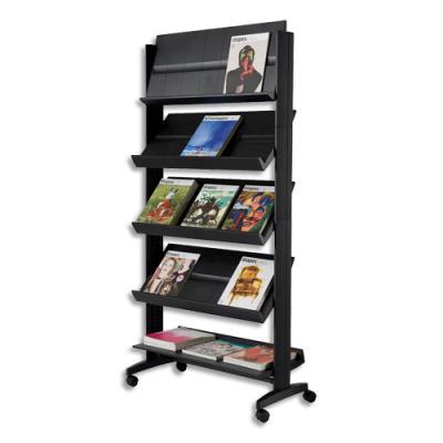 Présentoir de sol Paperflow - 5 tablettes mobile - noir