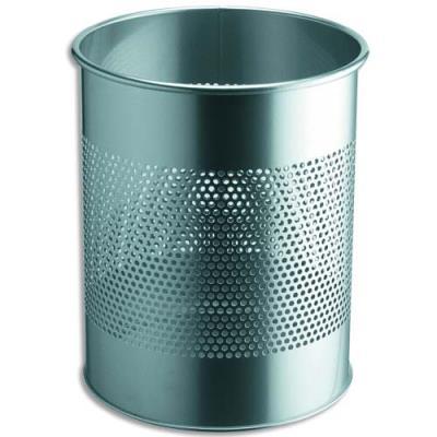 Corbeille à papier métal ajourée - 15 litres - argent (photo)