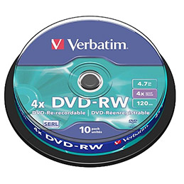 DVD-RW Verbatim - 4.7 go - 4x - tour de 10 (photo)