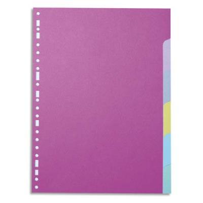 Intercalaires touches neutres 1er prix - carte 170 g - A4 - 6 positions - coloris assortis