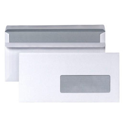 Enveloppes 110x220 5 Etoiles - fenêtre 45 x 100 - blanches - autocollantes - 80g  - boîte de 500 (photo)