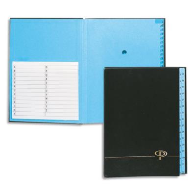 Trieur alphabétique 25 compartiments - couverture rigide plastifiée en PVC - noir (photo)