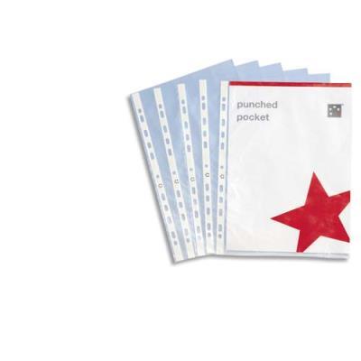Pochettes perforées - polypropylène 9/100e lisse - A4 - perforation 11 trous - boîte de 100