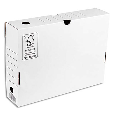 Boîte à archives 1er prix - dos de 8 cm - en carton ondulé - kraft blanc (photo)