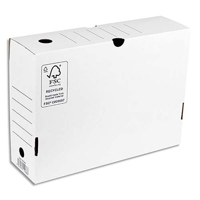 Boîte à archives 1er prix - dos de 10 cm - en carton ondulé - kraft blanc (photo)