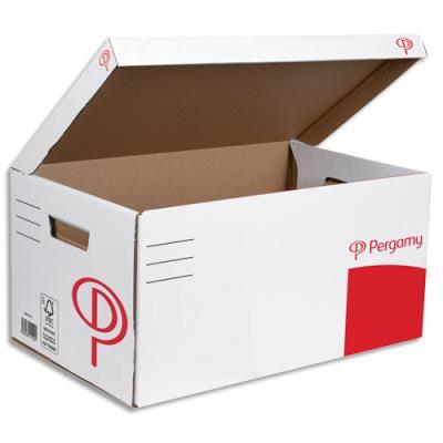 Conteneur à archives 1er prix en carton ondulé recouvert de kraft blanc - ouverture sur le dessus - 52 x 26 x 34 cm