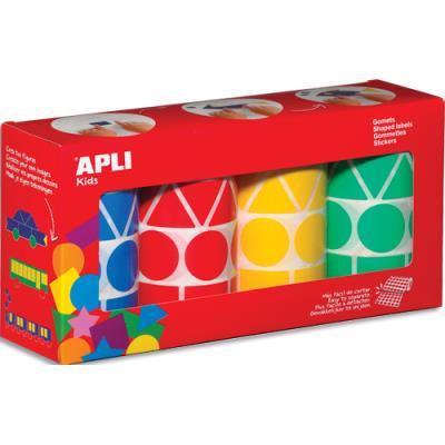 lot de 4 rouleaux de gommettes motifs et couleur assortis : carré, triangle, rectangle, rond (photo)