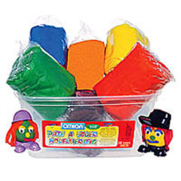 Assortiment de 6 pains de 500g de pâte à jouer en boite : bleu, rouge, vert, jaune, marron , orange (photo)