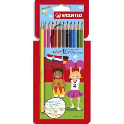 Pochette de 10 crayons de couleur Stabilo Color coloris assortis classiques + 2 coloris fluo