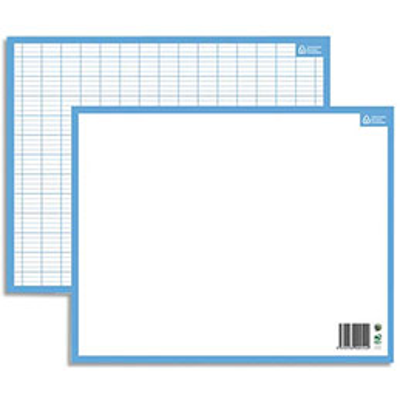 Ardoise blanche contour bleu format 21X26,5 cm recto Seyès verso uni effaçable à sec (photo)