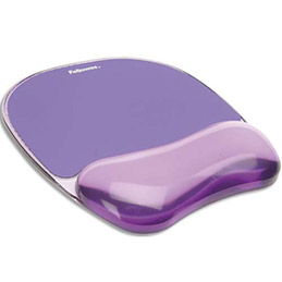 Tapis de souris repose poignets gel crystal Fellowes - violet (photo)