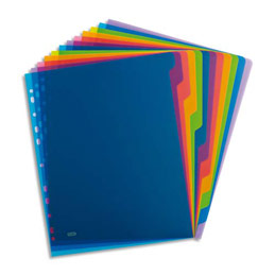 Intercalaires touches neutres Elba SCHOOL LIFE - polypropylène 3/10e translucide - A4 - 12 positions - coloris assortis