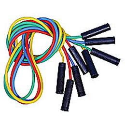 Lot de 4 cordes à sauter en plastique avec poignées, coloris assortis. Longueur 225 cm