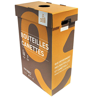 Boîte de collecte Ecobox pour le tri et recyclage des bouteilles plastiques et canettes (photo)