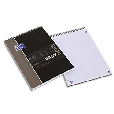 Bloc de bureau Oxford Easy Note - spiralé - couverture polypro - 160 pages - petits carreaux - 21 x 31,5 cm