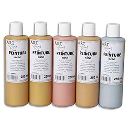 Acrylique metallique - Coffret de 5 x 250ml - Artplus -  assortiment (photo)