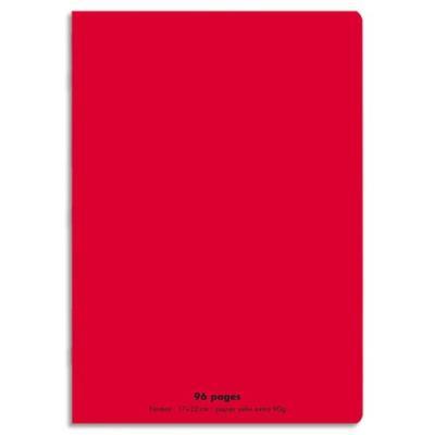 Cahier éco - piqué - couverture polypro - 96 pages - 17x22 cm - grands carreaux - rouge
