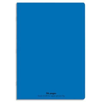 Cahier éco - piqué - couverture polypro - 96 pages - 17x22 cm - grands carreaux - bleu