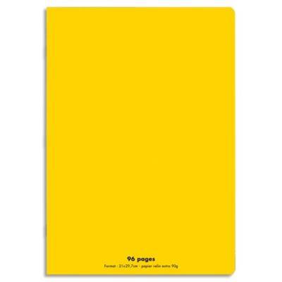 Cahier éco - piqué - couverture polypro - 96 pages - 21x29,7 cm - grands carreaux - jaune