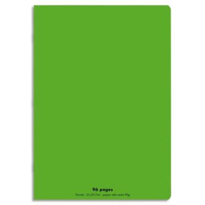 Cahier éco - piqué - couverture polypro - 96 pages - 21x29,7 cm - grands carreaux - vert
