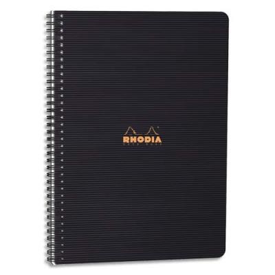 Cahier MEETINGBOOK Rhodia spirale - 16x21cm - 160 pages pré-imprimées - noire polypro