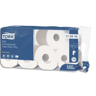 Papier toilette traditionnel Tork Premium - gaufré blanc - 250 mètres 3 plis - paquet de 8 rouleaux