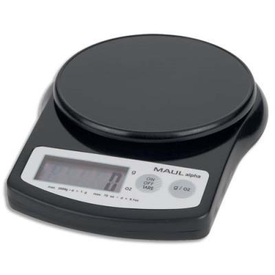 Pèse-lettre alpha à pile plastique - portée 2 kg - Plateau diam. 12 cm - 13,7 x 3,6 x 18,8 cm - noir (photo)
