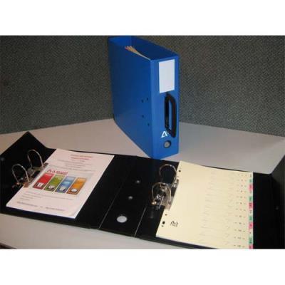 Classeur à deux leviers en PVC - poignée sur le dos - coloris bleu