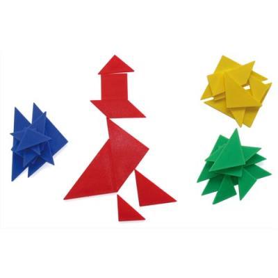TANGRAM / 4 jeux de 7 pièces formant un carré Ecole (photo)