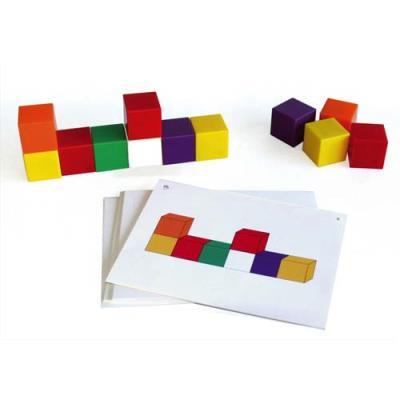 Jeu de géométrie dans lespace ( 75 cubes 20x20 mm et 30 fiches modèles ) Ecole (photo)