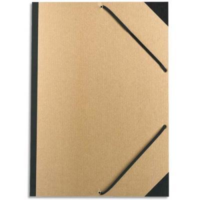 Carton à dessin 32 x 45 cm en kraft naturel à élastiques Exacompta (photo)