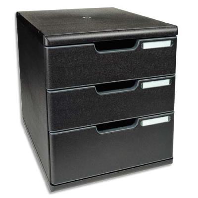 Module de classement Exacompta ECOBlack - 3 tiroirs - format A4+ - 28,8 x 32 x 35 cm - noir