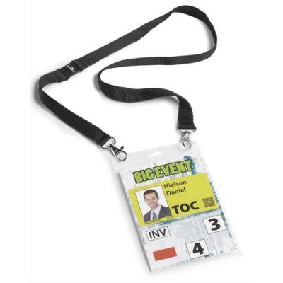 Porte badge format A6 Durable - avec lacet textile noir - boîte de 10 (photo)