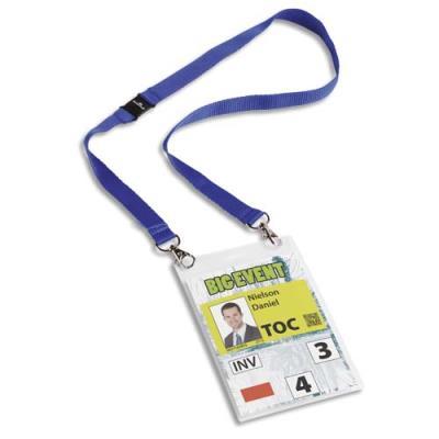 Porte badge format A6 Durable - avec lacet textile bleu - boîte de 10 (photo)