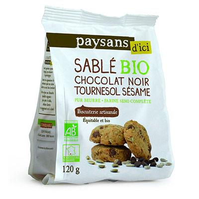 Biscuit sablé Bio - aux pépites de chocolat noir - carton 8 x 120 grammes (photo)