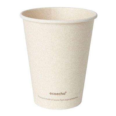 Gobelet jetable pour boisson chaude Sweet - en bagasse compostable - 24 cl - paquet 50 unités (photo)