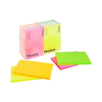 Bloc de 100 feuilles repositionnables Pergamy - 7,6x12,7 cm - coloris assortis néon (photo)