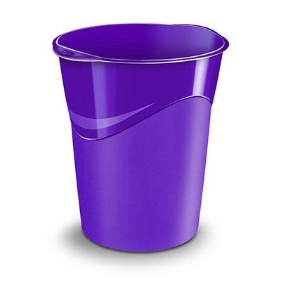 Corbeille à papier Cep Gloss 280 G - 14 litres - 305 x 290 x 334 mm - polypropylène - violet (photo)