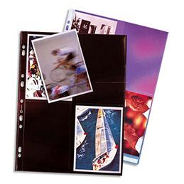 Pochettes perforées Elba pour 4 photos 13x18 cm - polypropylène 9/100e - fond noir - sachet de 10