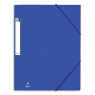 Chemises 3 rabats à élastiques Eurofolio Prestige - carte grainée 7/10ème - format 24x32 cm - bleu gitane